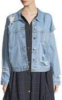 Public School Polly Oversized Distressed Denim Jacket