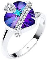 Elli Women 925 Sterling Silver Swarovski Crystals Heart Ring - Size N 1/2