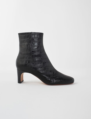 Maje Croc-effect embossed leather boots