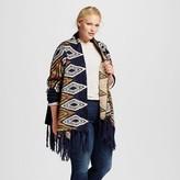 Cliche Women's Plus Size Aztec Print Fringe Hem Open Cardigan