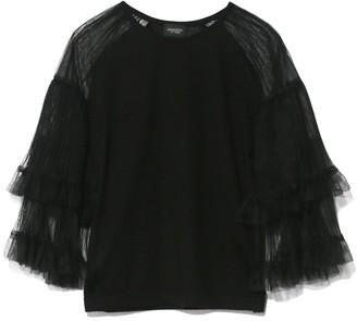 Giambattista Valli Tulle Sleeve Knit Top in Black