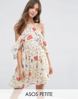 Asos Cold Shoulder Mini Dress with Ruffle Sleeve in Vintage Floral Print