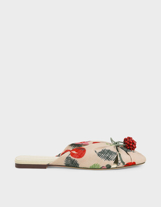 Charles & Keith Cherry Embellished Peep-Toe Slide Sandals
