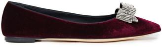 Giuseppe Zanotti Lucrezia Bow-embellished Velvet Point-toe Flats