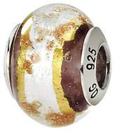 Murano Prerogatives Sterling White & Brown Italian Glass Bead