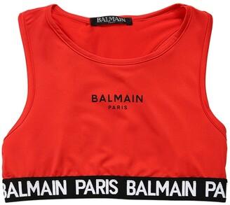 Balmain Logo Band Lycra Racerback Top