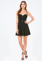 Bebe Laced Bustier Flared Dress