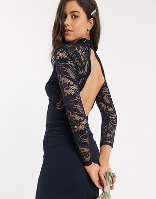 TFNC Bridesmaid long sleeve lace scallopd maxi with ruched back in navy