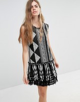 Anna Sui Fringe Shift Dress in Bark Cloth Jacquard