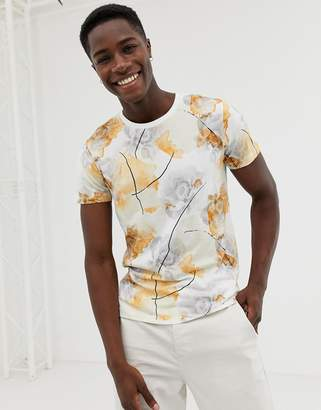 Selected t-shirt with all over floral print-White