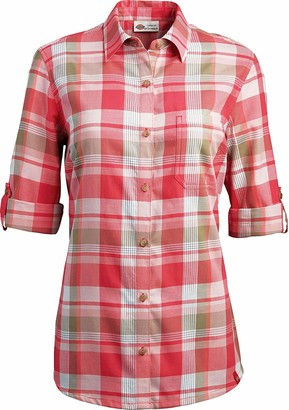 Dickies Women's Quarter Sleeve Roll-up Plaid Shirt-Plus Size