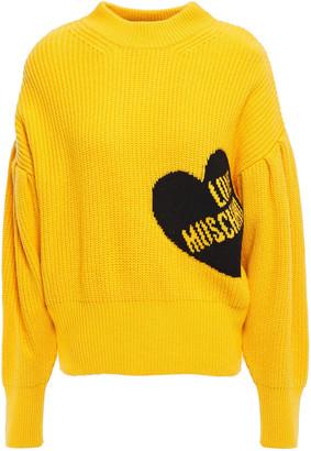 Love Moschino Gathered Ribbed Intarsia-knit Sweater