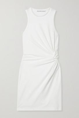 alexanderwang.t Knotted Cotton-blend Jersey Mini Dress - Ivory