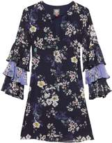 Vince Camuto Floral-print Tiered-sleeve Shift