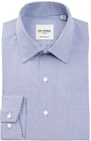 Ben Sherman Tailored Slim Fit Blue Dobby Check Dress Shirt
