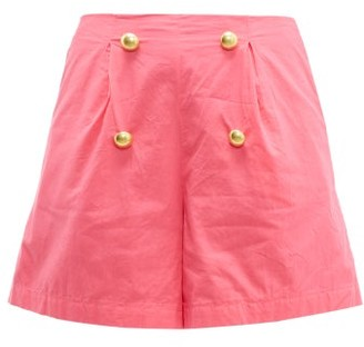 Rhode Resort Reese High Rise Cotton Voile Shorts - Womens - Pink