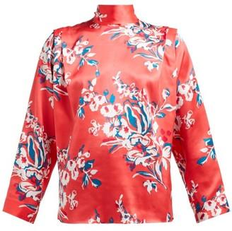 Roksanda Aulna Floral-print Silk-satin Blouse - Womens - Pink Print