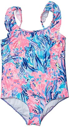 Lilly Pulitzer Ariana UPF 50+ Swimsuit (Toddler/Little Kids/Big Kids) (Periwinkle Purple Fan Sea Pants) Girl's Swimsuits One Piece