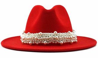GEMVIE Women's Vintage Pearl Band Fedora Hat Classic Wide Brim Trilby Panama Hat Jazz Cap US 7 3/8 Pink