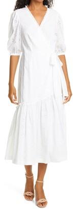 La Vie Rebecca Taylor Lucie Eyelet Wrap Midi Dress