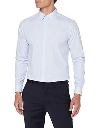 Burton Menswear London Men's Short Sleeve Slim Fit Geometric Print Shirt Dress (Blue 110), (Size:M)