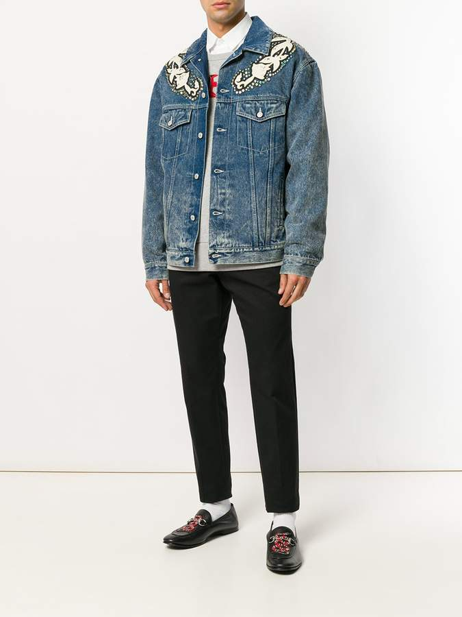 Gucci Denim jacket with floral applique