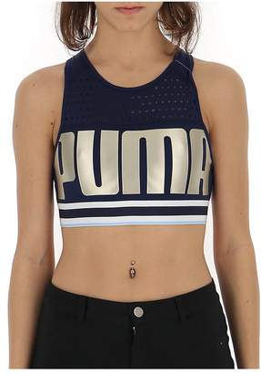Puma Mesh Logo Print Sports Bra