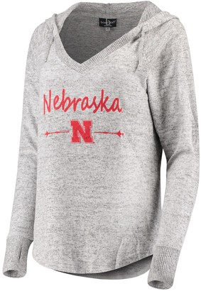Unbranded Women's Heathered Gray Nebraska Cornhuskers Cuddle Soft V-Neck Tri-Blend Hoodie