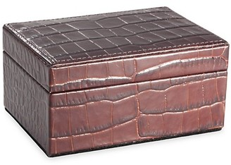 Graphic Image Small Croc-Embossed Leather Box