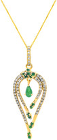 Diana M Fine Jewelry 14K 0.56 Ct. Tw. Diamond & Emerald Necklace