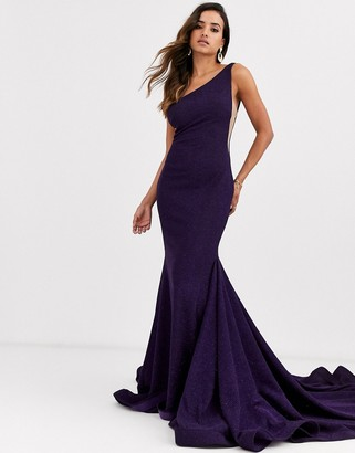 Jovani one shoulder fishtail dress-Purple