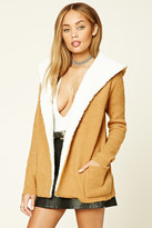 Forever 21 FOREVER 21+ Faux Shearling Hooded Cardigan