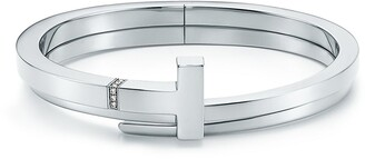 Tiffany & Co. & Co. T square wrap bracelet in sterling silver with diamonds, medium
