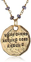 "Alisa Michelle Words To Live By"" Iolite 14K Gold Plated Double Sided Karma Coin Pendant Necklace"