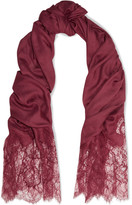 Valentino Lace-paneled Modal And Cashmere-blend Scarf - Burgundy