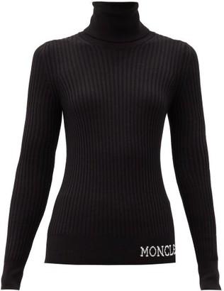 Moncler Logo-intarsia Roll-neck Wool Sweater - Black