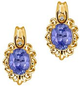 Gem Stone King 2.34 Ct Oval Blue Tanzanite and White Diamond 14k Yellow Gold Earrings