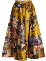 Erdem Teresa floral-print velvet midi skirt
