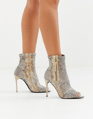 Truffle Collection peep toe stiletto boot in snake-Multi