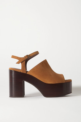 Dries Van Noten Suede Platform Sandals - Tan