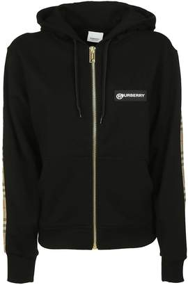 Burberry Logo Patched Zip Hooded Jacket