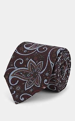 Isaia Men's Floral Wool Necktie - Brown
