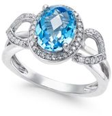 Macy's Blue Topaz (2-1/4 ct. t.w.) and Diamond (1/5 ct. t.w.) Ring in 14k White Gold