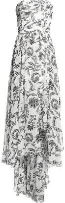 Oscar de la Renta Asymmetric Printed Silk Gown