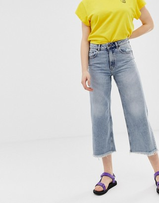 Cheap Monday organic cotton high rise wide leg jeans with raw hem