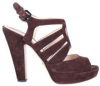 Prada Brown Suede Ankle Strap Sandals Size 38.5