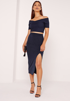 Missguided Split Front Midi Skirt Navy