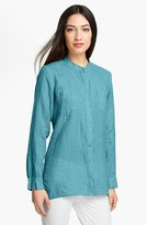 Eileen Fisher Mandarin Collar Organic Linen Shirt