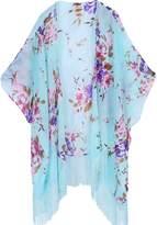 soul young Women's Floral Aztec Leopard Light Chiffon Beachwear Cover up Kimono Cardigan Outfit(,Black&Rose)