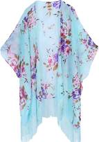 soul young Women's Floral Aztec Leopard Light Chiffon Beachwear Cover up Kimono Cardigan Outfit